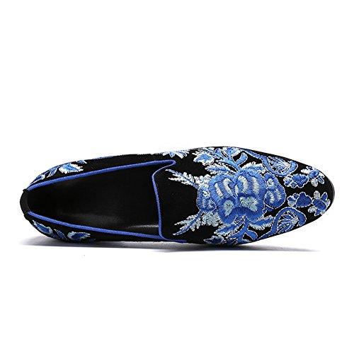 Hommes Chaussures Broderie De Fleurs Faites À La Main Loafer Suede Chanteur De Rock Boîte De Nuit Bar Mariage Banquet Taille 38 À 46 aDTlg