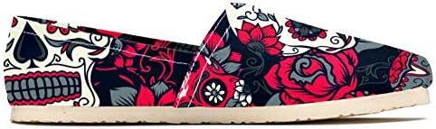 TIZORAX - Mocassini da donna, con teschio di zucchero morto, con motivo floreale, comodi, casual, in tela