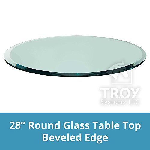 Troysystems 28'' Round Glass Table Top, 1/2 Thick, Beveled Edge, Tempered Glass by Troy