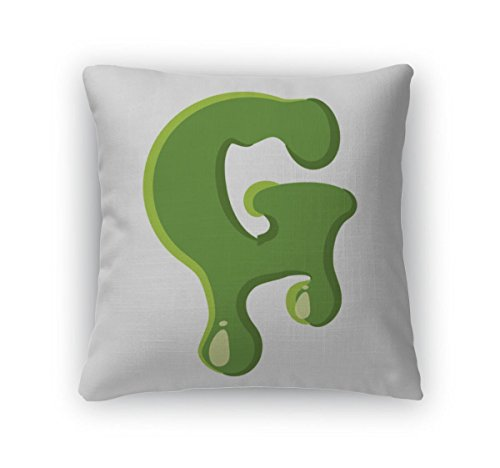 Gear New Throw Pillow Accent Decor, Letter G Made Of Green Slime, 20