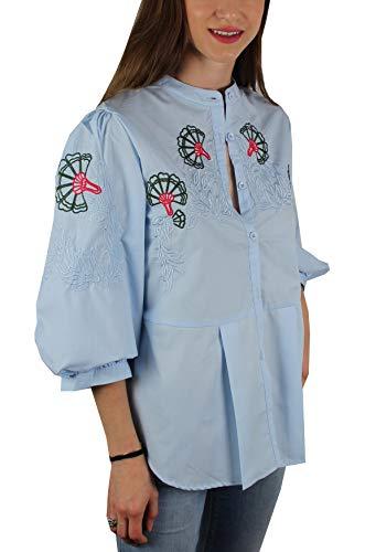 4 Femme 1st Chemise Decorations pour en Relief Bleu 3 avec Manches American FA1qwZ