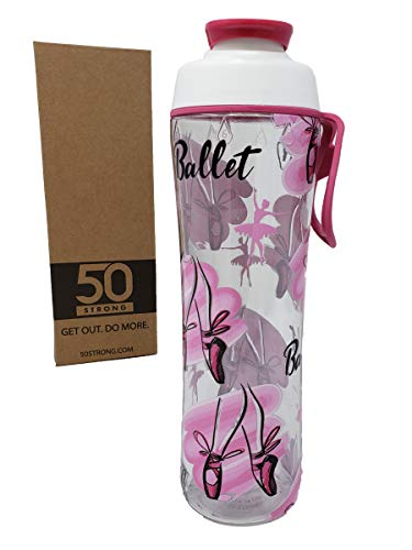 50 Strong Clear Dance Water Bottle - BPA Free - 24 oz. Designs Featuring Cute Dance, Ballet, Ballerina Prints for Girls, Teens, or Your Favorite Dancer or Coach - Made in USA