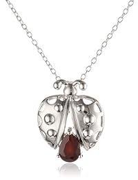 """Sterling Silver Garnet Ladybug Pendant Necklace, 18"""""""