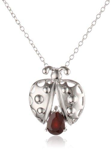 Sterling Silver Garnet Ladybug Pendant Necklace, 18