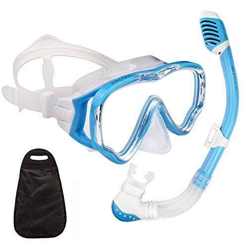 WACOOL Snorkeling Snorkel Package Set for Kids Youth Junior, Anti-Fog Coated Glass Diving Mask, Snorkel with Silicon Mouth Piece,Purge Valve and Anti-Splash Guard.(SkyBlue) 8 Piece Package Set