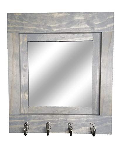 Farmhouse Decor Mirror Wall Key Organizer Customize with up to 5 Single Hooks & 20 Colors by Renewed Decor & Storage