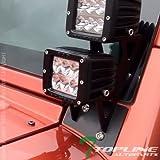 7 led bar brackets - Topline Autopart Black Lower Windshield A-Pillar Custom Mount Brackets Rack Kit For Dual LED Light Bar 07-17 Jeep Wrangler JK