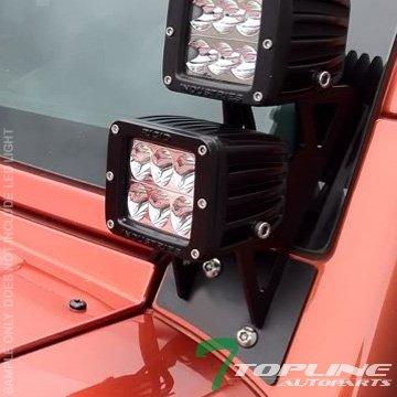 Topline Autopart Black Lower Windshield A-Pillar Custom Mount Brackets Rack Kit For Dual LED Light Bar 07-17 Jeep Wrangler JK ()