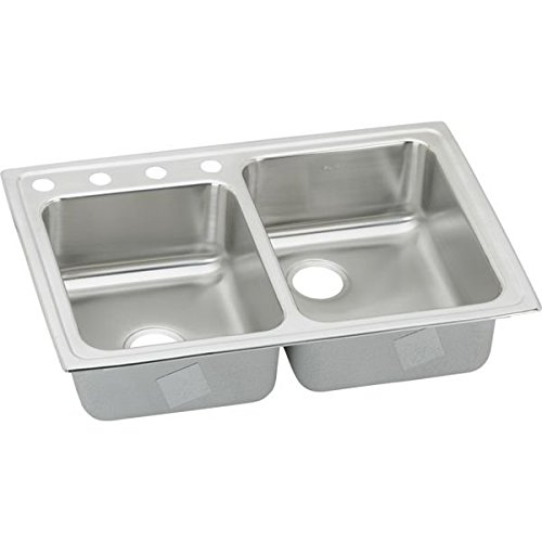 Elkay LR250L4 4-Hole Gourmet Lustertone Stainless Steel 33-Inch x 22-Inch Double Basin Top-Mount Kitchen Sink,   Stainless Steel