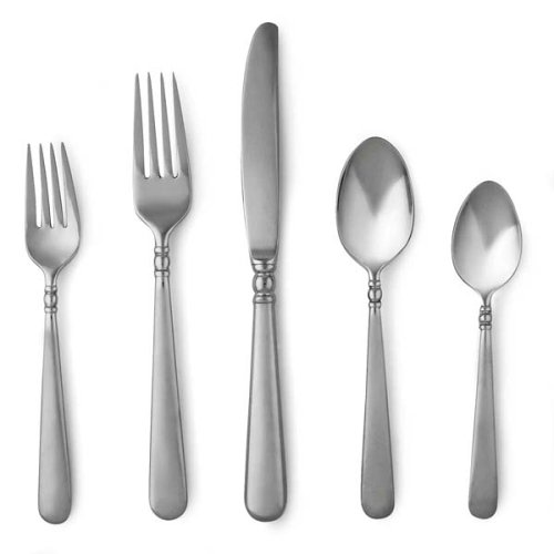 Lenox Pearl Platinum Satin Stainless Flatware 5 Piece Place Setting