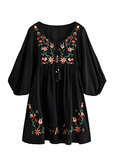 Milumia Women's Tasseled Tie Neck Lantern Sleeve Embroidered Smock Cute Mini Dress X-Large Black ()