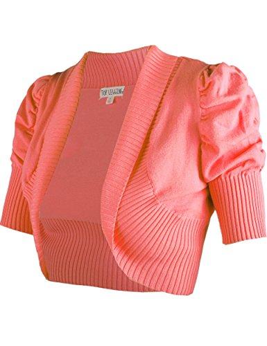 24af68446f TL Women Solid Basic Open or V Neck Short Sleeve Bolero Knit Cardigan Shrug  26 CORAL S - Buy Online in Oman.
