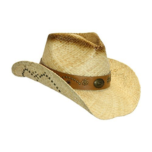 Cute Cowgirl Hat - Tea Stain Shapeable Straw w/ Faux Leather Trim, Brass Details (Straw Pinch Front)