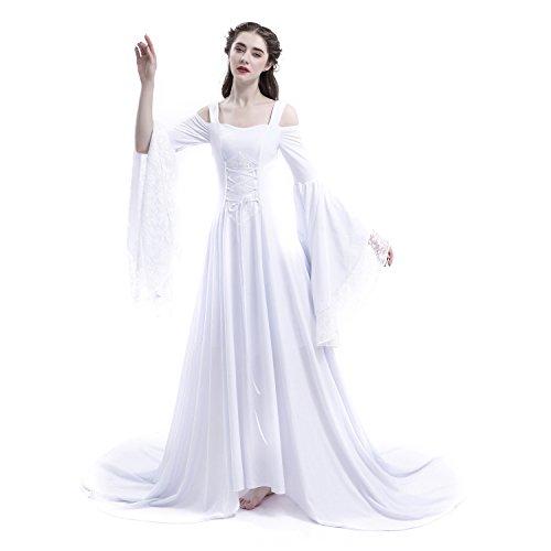 5b0e2e3da2975 D-RoseBlooming White Renaissance Fairy Tale Medieval Wedding Dress (X-Large)