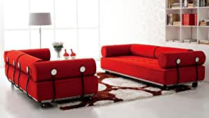 Carrera Modern Fabric Sofa - Red