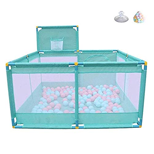 Byrhgood Playpen Baby Baby Playground with Shooting and 200 Balls, Toddler Play Fence, Anti-Rolling and Anti-Slip – 8 Panels, (Green) 66 cm High