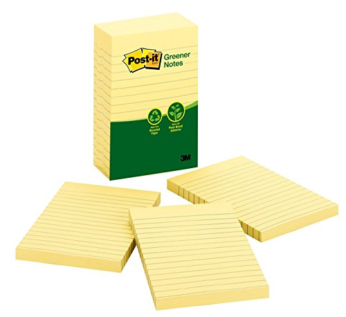 (Post-it Greener Notes, America's #1 Favorite Sticky Note, 4 x 6-Inches, Canary Yellow, Lined, 5-Pads/Pack (660-5RP))