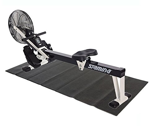 Stamina Cardio Foldable Air Rower Rowing Machine, Black/White + Equipment Mat
