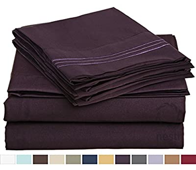 HIGHEST QUALITY Bed Sheet Set, #1 on Amazon, Full Size, Purple Eggplant, - Super Soft, Silky Coziest Sheet – SALE! - Better than Cotton, Will Fit Deep Pocketed Mattresses - Wrinkle, Stain and Fade Resistant Hypoallergenic Fabric - Set Includes Luxury Fitt