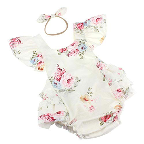 Baby Girls Cotton Vintage Floral Ruffle Rompers Clothing Headband Set (White, 6-12 ()