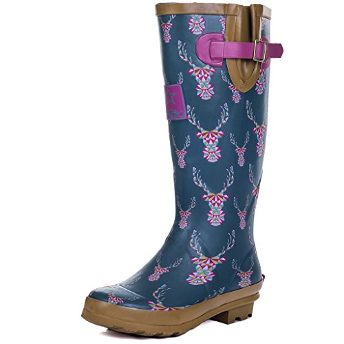 Women's Adjustable Welly Flat Rain SPYLOVEBUY Stag Boots IGLOO Buckle RxqCzAw