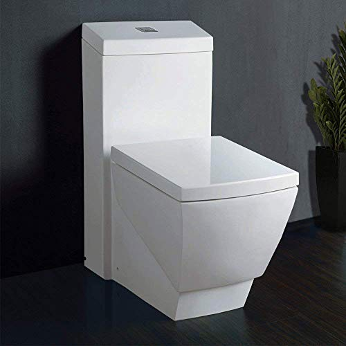 - WoodBridge T-0020 Dual Flush Elongated One Piece Toilet with Soft Closing Seat, Deluxe Square Design
