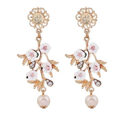 Afco Colored Baroque Flower Branch Faux Pearl Dangle Earrings White - Faux Baroque Pearl Earrings