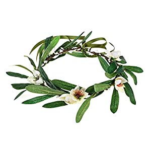 Floral Fall Artificial Olive Leaf Greece Flower Halo Bridal Headpiece Greenery Crown HC-32 (Olive Ivory Flower) 53