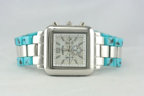 - Geneva 2-tone chronograph style Square Mop dial ladies watch (tortoise/silver)