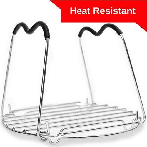 (Trivet for Instant Pot with Heat Resistant Silicon Handles - IP Accessories - Pressure Cooker Steamer Rack - Fits 5 / 6 / 8 Quart Instant Pot)