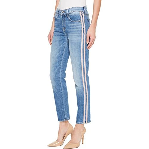 7 For All Mankind Womens Roxanne Ankle w/Pink Faux Suede Stripes in Vintage Blue Dunes for sale