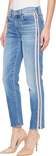 7 For All Mankind Women's Roxanne Ankle w/Pink Faux Suede Stripes in Vintage Blue Dunes Vintage Blue Dunes 28 27