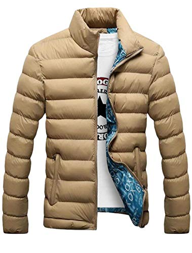 Sleeve khaki Quilted Unique Jacket Long Outerwear Men's Stand Zipper Jacket Collar Men's with 1 Jacket Jacket Down Sweat vqwxZtTPd