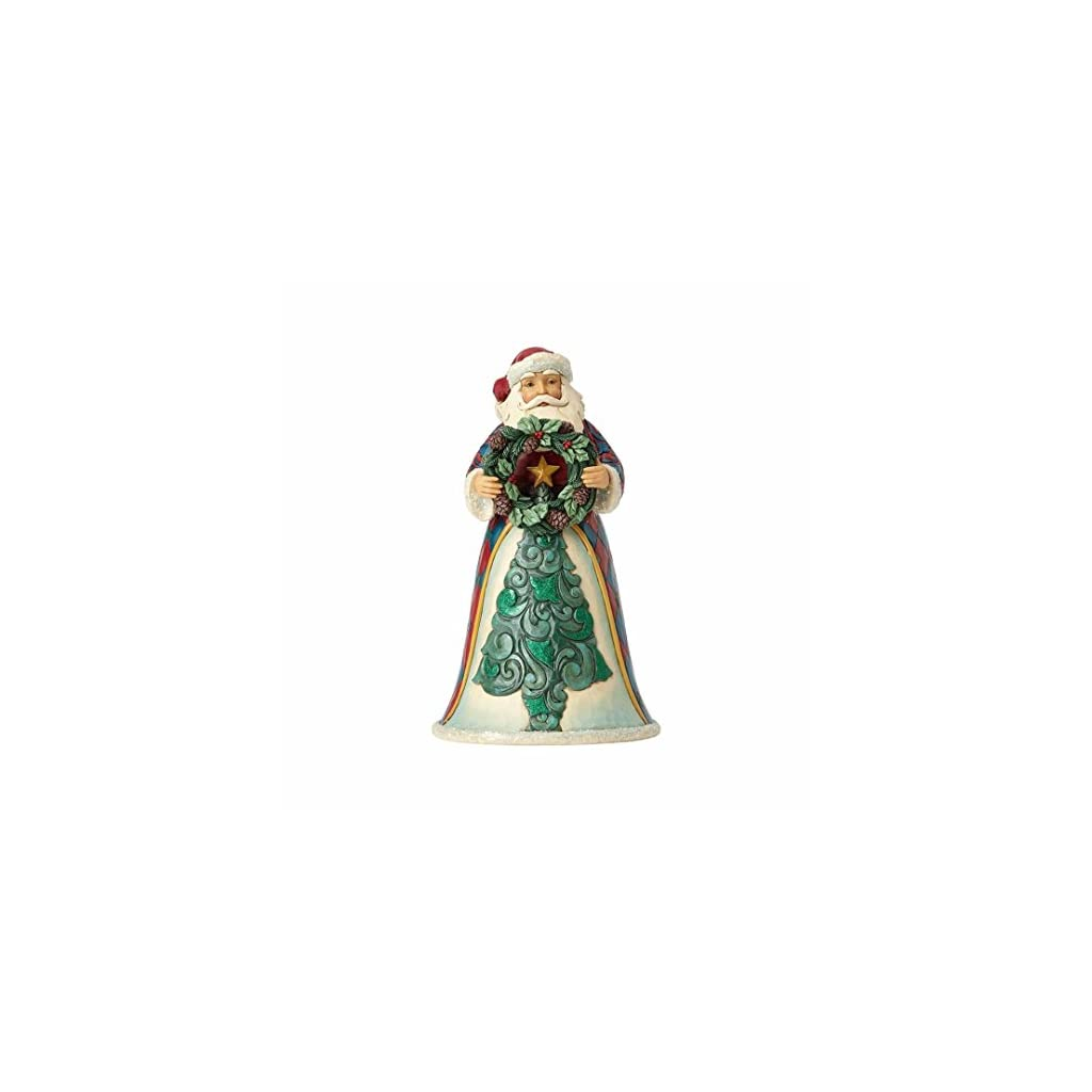 Enesco Jim Shore Heartwood Creek Winter Wonderland Santa with Wreath Stone Resin, 10″ Figurine