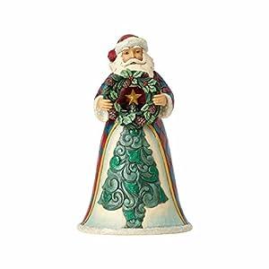 "Enesco Jim Shore Heartwood Creek Winter Wonderland Santa with Wreath Stone Resin, 10"" Figurine 36"