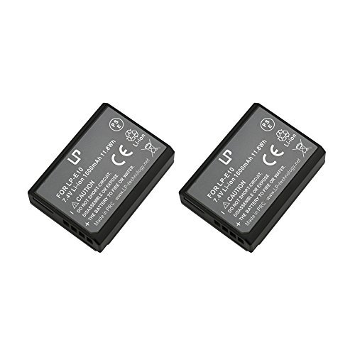 LP-E10 LP Battery Set, 2-Pack Rechargeable Li-Ion Battery, Compatible with Canon EOS Rebel T3, T5, T6, T7, 1100D, 1200D, 1300D, 1500D, 3000D, Kiss X50, X70, X80, X90 Cameras and LC-E10 Charger