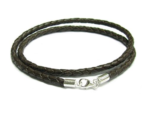 Dreambell 925 Sterling Silver Brown Braided Bolo Round Natural Leather Cord 4mm Choker Necklace 16 Inches