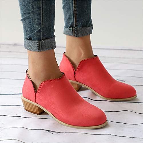 Stivali Caviglia Donna Scamosciata Caldo con 5cm Blocco di Tacco & Pizzo Chelsea Boots per Lavoro Autunno Inverno Bassi Stivaletti Rosso Rosa Verde Nero 35-43 Rosso 40