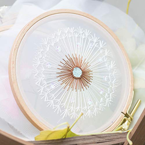 Embroidery Kits for Beginners with Pattern, Benbo Creative Dandelion Hand Embroidery Cross Stitch Needlepoint Crafts Kit with Color Pattern Cloth, Bamboo Embroidery Hoop, Color Threads and Tools Kit