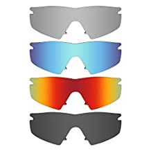 MRY 4 Pairs POLARIZED Replacement Lenses for Oakley M Frame Strike Sunglasses-Stealth Black/Fire Red/Ice Blue/Silver Titanium