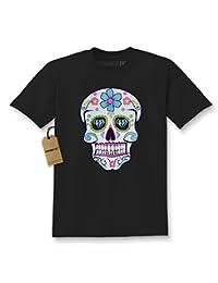 Expression Tees Sugar Skull White Print Dia De Los Muertos Kids T-shirt