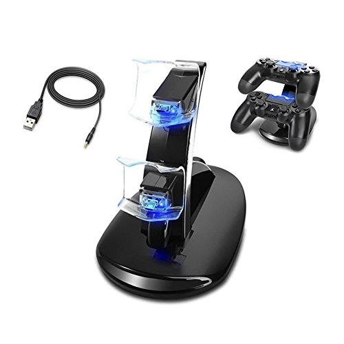 PS4 Controller Charger, Dual USB Fast Charging Dock Station Stand Holder with LED Indicator for Sony PlayStation 4/PS4/PS4 Pro/PS4 Slim Controller