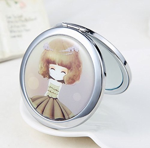 [Mini Pocket Makeup Mirror Compact Cosmetic Mirrors Portable Double Dual Sides Normal Magnifying Mirror] (Princess Anastasia Halloween Costume)