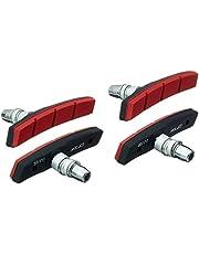 XLC Unisex – Volwassenen remschoenen V-Brake BS-V12 Set van 4 80 mm, Rood, Zwart, One Size
