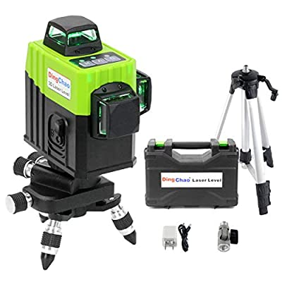 DINGCHAO Self Leveling 360 Green Laser Levels with Tripod/Stand,Micro-Adjust Base,Hard Carrying Case,3x360 Line Lasers Three-Plane Alignment Leveling Tools Vertical Horizontal Laser Layout Tools