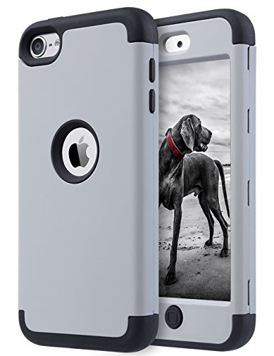 iPod 6 Case,iPod Touch 6 Case,ULAK Heavy Duty High Impact KNOX ARMOR Case Cover Protective Case for Apple iPod touch 5 6th Generation(Grey + (Itouch Cover)