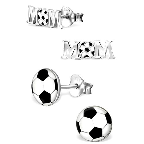 925 Sterling Silver Hypoallergenic Set of 2 Pairs Soccer Mom Stud Earrings for Girls and Womens (Nickel Free) 20509
