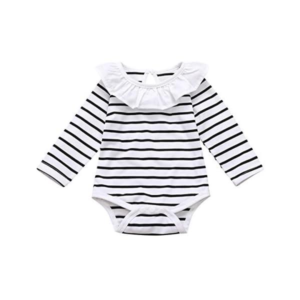 DaMohony - set di vestiti per bambina a maniche lunghe, pagliaccetto a righe, gonna con bretelle e fascia, per bambina… 4