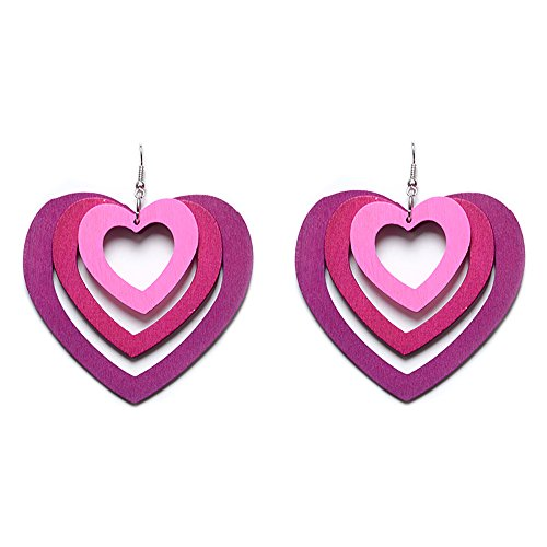 New Trendy Statement Multilayer Woody Heart Shape Gradient Color Earrings for Women's Accessories (hot pink gradient) (Heart Hoop Pink)