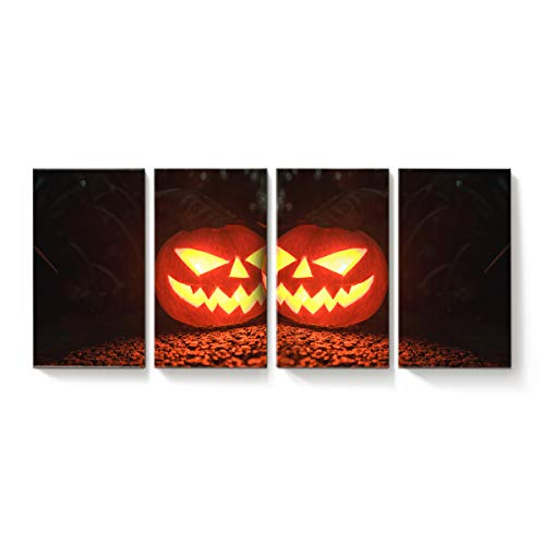 YEHO Art Gallery Modern Canvas Wall Art Rectangle Artworks Home Art Decor,Horror Halloween Pumpkin Face Black and Orange Canvas Oil Painting,Stretched by Wooden Frame,Ready to Hang 20 x 34inch x 4 ()